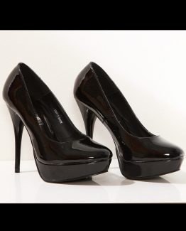 3120-1 Lacquered high heels and platform – black