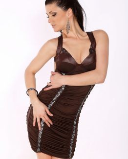 1605-1 Pleated dress with silver cubic zirconia in front of a dark-brown