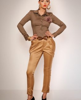 2623-1 Elegant trousers from wrinkling and pockets + belt – creme