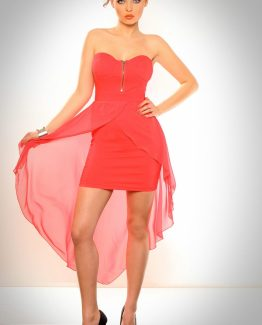 3001-1 Dress with rigid, palettes and tail of tulle back-watermelon