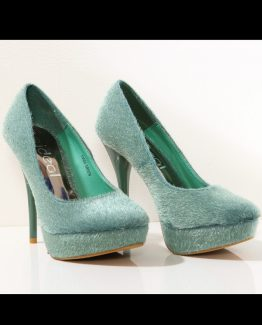 3117-3 High heels and platform with a teddy bear – green