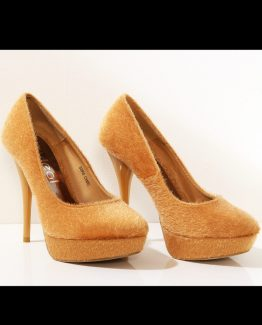 3117-2 High heels and platform with a teddy bear – beige