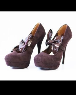 2519-1 High-heeled pumps with bow on elastic band – Brown
