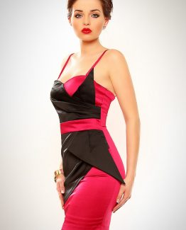 3202-3 Chiffon dress with stiff cups – dark pink