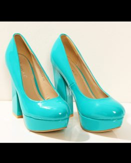 3203-3 Lacquered on a wide-heeled pumps – turquoise