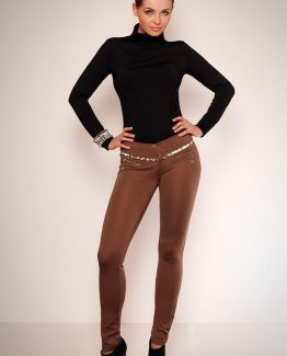 2606-1 Leggings with gold zippers and insertion of camouflage REDIAL – light brown