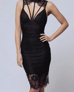 SOKY SOKA  DRESS BLACK 56003-1